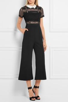 Black guipure lace and crepe Concealed hook and zip fastening at back 85% polyester, 11% cotton, 4% polyamide; lining: 100% polyester Hand wash or dry clean