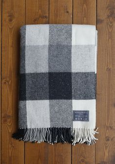 Heritage Lifestyle Blanket New Wool Grey Heritage Check  | The Tartan Blanket Co.