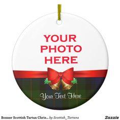 Bonner Scottish Tartan Christmas Photo Double-Sided Ceramic Round Christmas Ornament