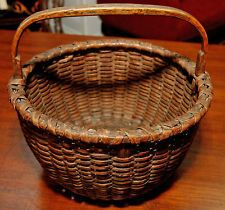 RARE 19TH CENTURY NANTUCKET BASKET CARVED HANDLE GREAT NEW ENGLAND PIECE