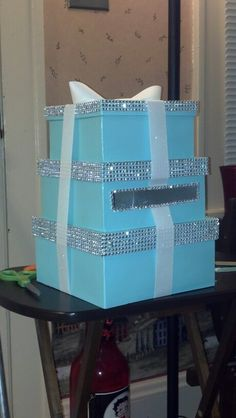 Wedding CARD BOX Money Holder Aqua Tiffany Blue White Quality and