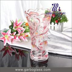 Pink flower design glass vase , beautiful your home!