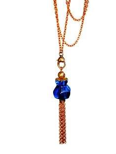 Upcycled Long Blue Necklace Tassel, Cobalt Blue, Repurposed Glass Knob