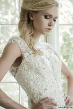 sarah houston 2015 bridal collection illusion sheer neckline sheath wedding dress zoom front unforgettable
