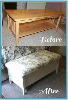 Simply aDarable: Refinished Coffee Table to Storage Bench! this is my project for the winter! just need to find a pretty cheap coffee table and its a go! Furniture Fix, Refurbished Furniture, Repurposed Furniture, Furniture Projects, Furniture Makeover, Home Projects, Crafty Projects, Coffee Table Refinish, Coffee Tables