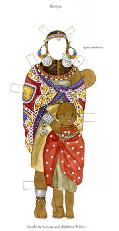 Traditional African Costumes*1500 free paper dolls for Christmas at artist Arielle Gabriels The International Paper Doll Society and also free Asian paper dolls at The China Adventures of Arielle Gabriel *