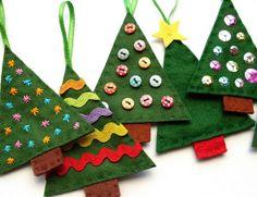 Enfeites de Natal em feltro para pendurar na Árvore   Como fazer em casa Artesanato