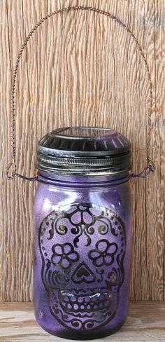 Jardín Solar Light, Mason Jar Luz al aire libre, Día de la decoración del cráneo muerto del azúcar y Negro Púrpura