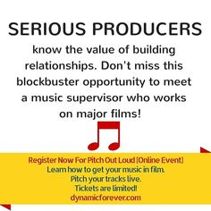 SERIOUS PRODUCERS  know the value of building relationships. Don't miss this blockbuster opportunity to meet a music supervisor who works on major films!  Register Now For Pitch Out Loud [Online Event] Learn how to get your music in film.  Pitch your tracks live. Tickets are limited! http://ift.tt/23XnaIg  #filmcomposer #musicforfilm #filmmusic #listeningsession #pitchoutloud #dynamicproducer #dynamicon #licensing #trailermusic #dynamicforever #musicpitching