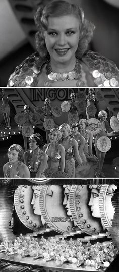 "Ginger Rogers sings ""We're in the Money"" accompanied by scantily-clad, pre-code showgirls (one of four song & dance sequences staged & choreographed by Busby Berkeley) in Mervyn LeRoy's Gold Diggers of 1933."