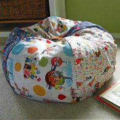 Free PDF Tutorial from Michael Miller: Kids' Beanbag Chair. Stuff with stuffed animals instead for a space saving idea!