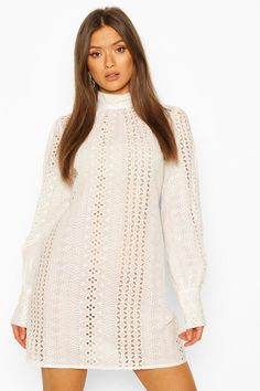 Womens Broderie Anglais High Neck Shift Dress - White - 10