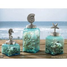 These shades of blue glass jars are a perfect accent to a beach themed house. Check out my boards for other terrific coastal decorating ideas!