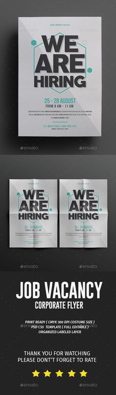 Buy Job Fair Flyer by tokosatsu on GraphicRiver. Job Fair Flyer Hello Thank for Purchasing . This PSD file set on 210 mm x 297 mm + bleed Flyer Design Inspiration, Brochure Design Inspiration, Psd Flyer Templates, Graphic Design Templates, Hiring Poster, Recruitment Ads, Flyer Printing, Job Ads, Poster Ads