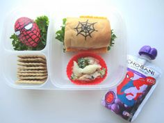 Kids love superheroes and this Spiderman lunch is fun and packs a protein punch with a turkey and cheese sub sandwich and a Spiderman hard-boiled egg. They will love the Chobani Kids Greek Yogurt grape pouches, too. Created by BrainPowerBoy.com, sponsored by Chobani.