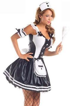 With our Maid for Fun Sexy Costume, your Halloween will be filled with naughty chores. The wet-look black dress features a built-in apron, bow, ribbon and lace details. Hat and puff sleeves included! Bride Costume, Nurse Costume, Maid Lingerie, French Maid Costume, Jane Clothing, Sexy Halloween Costumes, Halloween Party, Maid Outfit, American Girl Clothes