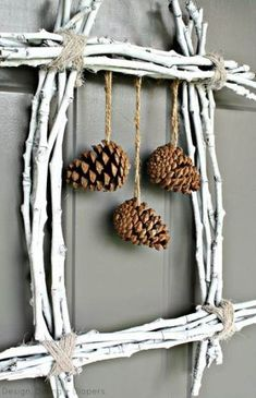 Pine Cone Twig Wreath Create a unique winter wreath using twigs and pine cones. Kids Fall Crafts, Holiday Crafts, Christmas Crafts, Christmas Decorations, Christmas Ornaments, Prim Christmas, Xmas, Country Christmas, Christmas Trees
