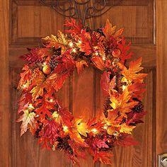 Lighted Maple Wreath