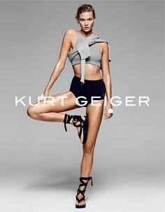 Karlie Kloss // sports bra, sweater, high waist briefs and wrap flat sandals