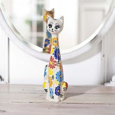 """Roseana"" Cat of Hand-Painted Polish Pottery - Handcrafted from the Hearts & Hands of Artisans"