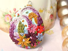 Colorful Polymer Clay Pendant Mint Flower Necklace by Sweetystuff