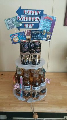 30 awesome fathers day gift basket ideas for men pinterest a fathers day beer cake is a great idea get up to off now and make dad a beer cake solutioingenieria Images