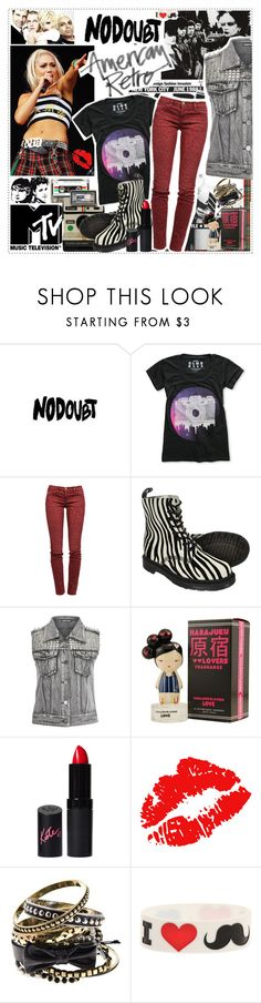 """It's The No Doubt Invasion"" by sweet-jolly-looks ❤ liked on Polyvore featuring American Retro, CASSETTE, Glamour Kills, Current/Elliott, Dr. Martens, Harajuku Lovers, Rimmel and Hot Topic"