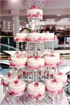 Mini Cakes with bling . (Image via Northern Beaches Wedding Expo) 3 Tier Wedding Cakes, Wedding Cake Cookies, Amazing Wedding Cakes, Elegant Wedding Cakes, Amazing Cakes, Pretty Cakes, Cute Cakes, Beautiful Cakes, Beautiful Gowns