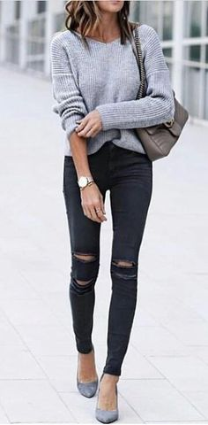 #winter #outfits gray v-neck long-sleeved shirt and black denim jeans