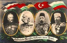 Leaders of the Central Powers (left to right): Kaiser Wilhelm II of Germany; Kaiser and King Franz Joseph of Austria-Hungary; Sultan Mehmed V of the Ottoman Empire; Tsar Ferdinand of Bulgaria.