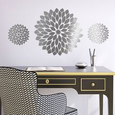Love this! Great giant silver flower wall decals. Wall stickers from CozyWallArt.com
