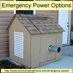 Emergency generator Hidden in Plain Sight FWD: Emergency Power Options @ Common Sense Homesteading. Article discusses Gas Generators, Battery Back-Up Systems, and Spot Chargers.