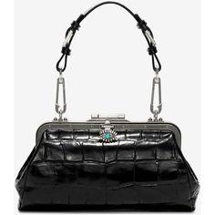 Alexander McQueen Stamp Croc Calf Surreal Bag (€1.535) ❤ liked on Polyvore featuring bags, handbags, shoulder bags, black, alexander mcqueen bags, crocodile bags, logo bags, croco bag and jewel bag