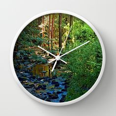 Forest, a river, a valley and summertime Wall Clock