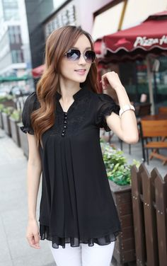 Stand Collar Short Sleeves Lace Splicing Solid Color Sweet Style Chiffon Blouse For Women Sammy Dress, Blouse Dress, Beautiful Outfits, Blouses For Women, Short Dresses, Chiffon, Fashion Outfits, Women's Fashion, Sweet Style
