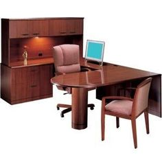L Peninsula U-Shaped Desk with Full-Pedestal. Renovating, redecorating or updating your workspace? Hertz Furniture offers a variety of office furniture pieces that will fit your needs and budget. http://www.hertzfurniture.com/office-furniture.html