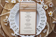 Ivory Rustic Lace Wedding Dinner Menu that match with your country outdoor wedding reception. With this rustic menu your guests will know what's for dinner. Wedding Dinner Menu, Wedding Menu Cards, Outdoor Wedding Reception, Farm Wedding, Rustic Wedding, Fall Wedding Programs, Burlap Wedding Invitations, Pocketfold Invitations, Bridal Shower Menu