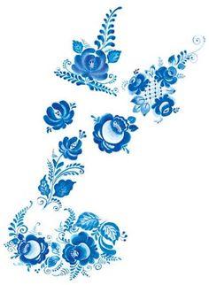 Элементы Гжельской росписи: цветы - розы, тюльпаны, астры, гвоздики, листья, штриховка – сеточка, жилка, завитки.