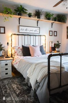Check out this guest bedroom tour filled with festive and cozy holiday decor tou. Check out this guest bedroom tour filled with festive and cozy holiday decor touches from North Country Nest Cheap Bedroom Makeover, Bedroom Makeovers, Guest Bedroom Decor, Cheap Bedroom Decor, Trendy Bedroom, Bedroom Décor, Bed Room, Bedroom Shelves, Modern Bedroom