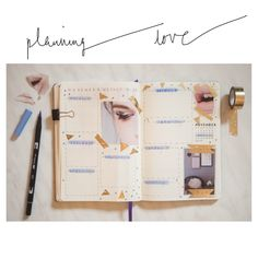 Some Bullet Journal inspiration and layout ideas. This time: My favorite double page so far. Just love the combination of blue color and golden #washi. #bulletjournal #ideas #layout #inspiration