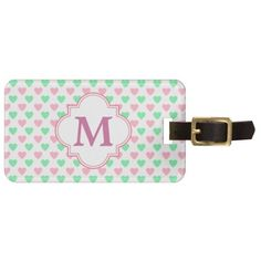 Pink Green Hearts Monogram Luggage Tags by Avenue Central. Cute, colorful, and girly!