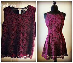 Oversized top sewn little mini dress.  Supplies: Thrifted XXL stretch top