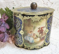 Vtg Tin Litho Fancy Candy Tin ~ West Germany - eCrater Stores Network