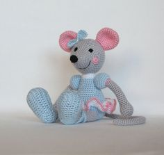 Crochet ballerina mouse Bella in light blue by TheMagicCrochetHook