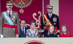 A royal family affair! King Felipe and Queen Letizia along with their daughters (Princess Leonor and Princess Sofia) attended a military parade in Madrid for Spain's National Day on October 12, 2016