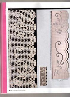 Crochet and arts: Crochet edges Crochet Dollies, Crochet Lace Edging, Crochet Borders, Filet Crochet Charts, Crochet Stitches, Doily Patterns, Crochet Patterns, Crochet Sunflower, Diy Crafts Crochet