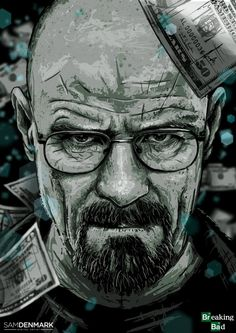 Walter White by SamDenmarkArt -- Breaking Bad, Walter White fanart, Breaking Bad fanart, Commission Art Breaking Bad, Affiche Breaking Bad, Breaking Bad Poster, Walter White, Breking Bad, Bad Tattoos, Design Graphique, Dope Art, Les Oeuvres