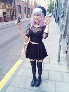 Alternative Girl wearing Pastel Goth inspired Black Clothes