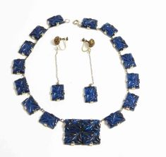 Art Deco Blue Glass Necklace Prong Set Molded Glass Stones and Matchin – Vintage Lane Jewelry