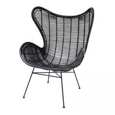 Egg chair - rotan - zwart